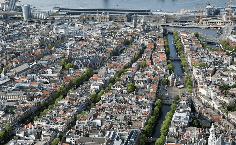 O centro da cidade em Amsterdã