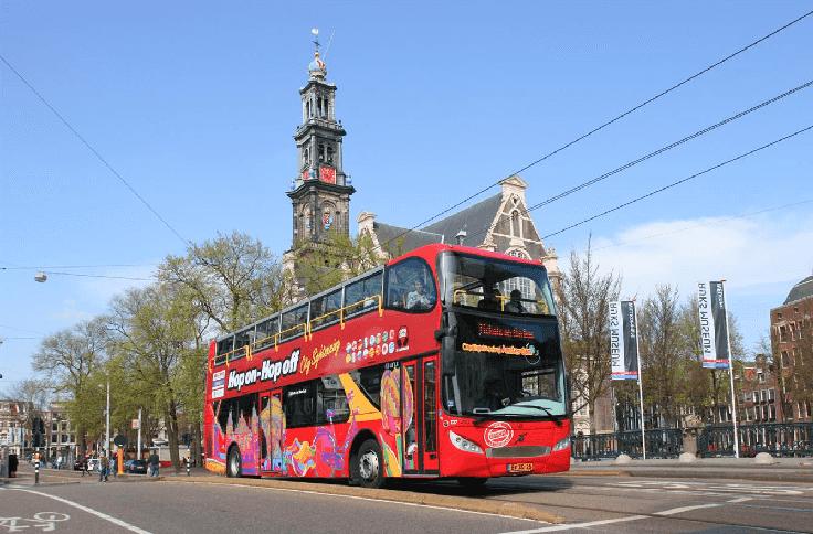 Lugares que irá passar em um passeio de ônibus turístico em Amsterdã