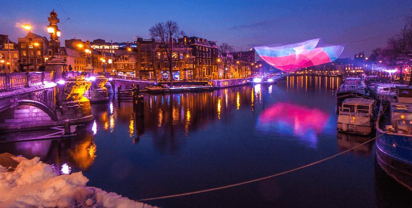 Festival de luzes em janeiro em Amsterdã
