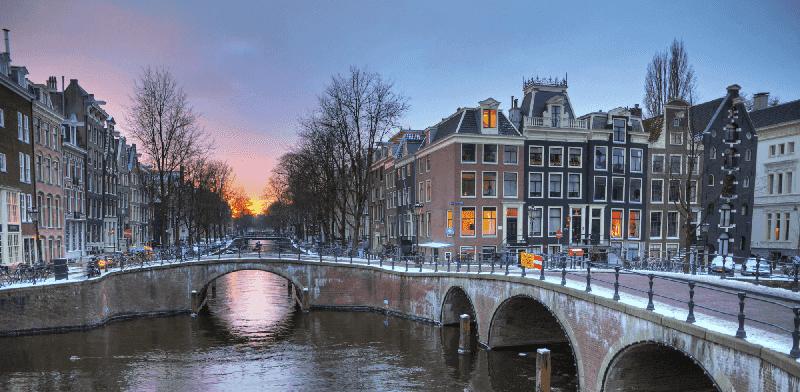 Amsterdã no inverno em janeiro